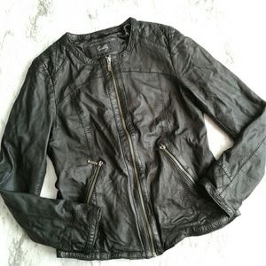 Scully Black Quilted Detail Lamb Leather Jacket